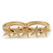 Gold Plated Double Finger 'Five Star' Ring - Size 7 & 8
