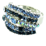 Blue on Silver Plated Simple Cluster Cocktail Ring