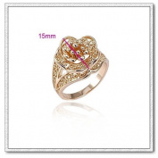 Klaritta 18K Gold Plated Flower Shaped Gold Engagement Top Quality Ring Large Size Q 18 mm Diameter FR40