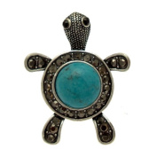 Acosta - Hematite Crystal & Turquoise Stone - Vintage Inspired Turtle Ring - Gift Boxed Fashion Jewellery