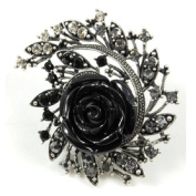 Rings Store Large Black Rose on Antique Silver Ring