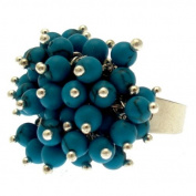 Acosta Rings - Silver Tone with Turquoise Bead Charms - Fashion Jewellery Cluster Ring - Adjustable - Gift Boxed