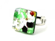 Murano Glass Ring - Dainty Square 1.5cm x 1.5cm - Green & Black on Silver Leaf - Adjustable, One Size Fits All - Includes Gift Box