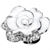 White Jewelled Bloom Flower Adjustable Ring