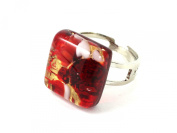 Murano Glass Ring - Dainty Square 1.5cm x 1.5cm - Red Shades on Gold Leaf - Adjustable, One Size Fits All - Includes Gift Box