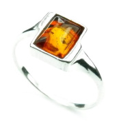 Lovely Baltic Amber & 925 Sterling Silver Designer Ring 7030M