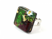 Murano Glass Ring - Square 2cm x 2cm - Green & Brown on Gold Leaf with Millefiori Flower - Adjustable, One Size Fits All - Includes Gift Box