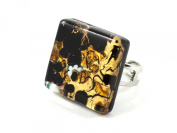 Murano Glass Ring - Square 2cm x 2cm - Gold & Black on Gold Leaf with Millefiori Flowers - Adjustable, One Size Fits All - Includes Gift Box