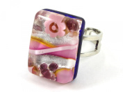 Murano Glass Ring - Pink on Silver Leaf with Millefiori Flowers, Rectangular 2cm x 1.5cm & Adjustable, One Size Fits All - Includes Gift Box