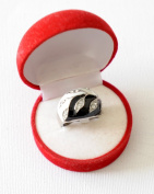 Rhodium and Hematite Two Tone black and white electro plated ring with element crystals...cool design, size 17