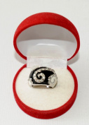 Rhodium and Hematite Two Tone black and white electro plated ring with element crystals...cool design, size 16