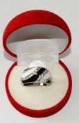 Rhodium and Hematite Two Tone black and white electro plated ring with element crystals...cool design, size 18