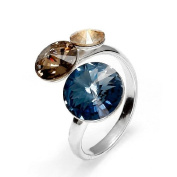Blue, Grey, Golden Shadow. Crystal Ring, 925 Sterling Silver, 3 Crystals, Made with. Elements by Spark, Size adjustable