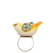 Porcelain bird ring/handmade and handpainted with sliver and colour, embellished with. crystal detail with sliver plated ring/adjustable size