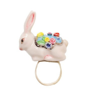 Porcelain rabbit ring/handmade and handpainted with real silver and colour, embellished with. crystal detail with sliver plated ring/adjustable size