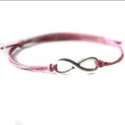 Hippy ANTIQUE SILVER Pink Cord Infinity Friendship Karma Wish Hope Love Peace Bracelet