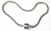 18cm SILVER PLATED STARTER BRACELET FOR PANDORA BEADS & CHARMS