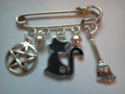 Pagan/Wiccan Lucky Black Cat Kilt Pin/Brooch