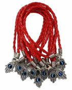 """Lot of 10 - """"Lucky"""" HAMSA Red String Kabbalah Bracelets with RED Braided String and Rotating """"Evil Eye"""" Hamsa Hand - Jewish Judaica Amulet Pendant Jewellery for """"Success and Protection"""""""