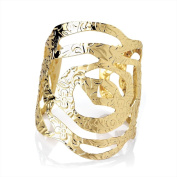 Bling Online Gold Tone Flower Cut Out Embossed Design Bangle.