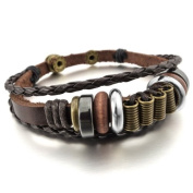Justeel Men,Women Alloy Genuine Leather Bracelet Bangle Braided Tribal (with Gift Bag) (Width