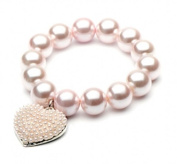 Large Glass Pearl Stretch Bracelet with Heart Charm in Pink