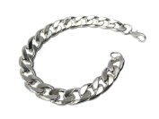 Mens 21cm heavy Silver 12mm Curb Chain fashion Bracelet