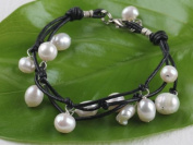 Freshwater Pearl and Black Leather Charm Bracelet - Women Bracelet