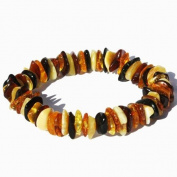 Multicolour Baltic Amber Chips/Beads Bracelet. Genuine Baltic Amber