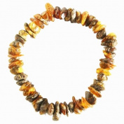 Grey/Green Baltic Amber Chips/Beads Bracelet. Genuine Baltic Amber
