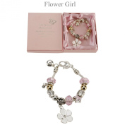 Amore Silver & Pink Flower Girl Bracelet with Crystals - Wedding Gift