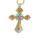 Vintage look ornate and colourful cross