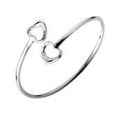 Double Open Heart Bangle Bracelet - 19cm - 925 Sterling Silver Plated. Designer Inspired