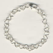 Sterling Silver Chain of Hearts Bracelet
