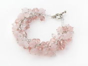 Beautiful Pink Crystal and Rose Quartz Charm Bracelet - Women Bracelet