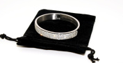 High Quality Stainless Steel Bangle with Clear. Crystals Hinged Clasp