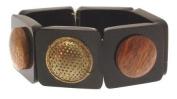 Fashion bracelet dark plastic and wood design IAS282