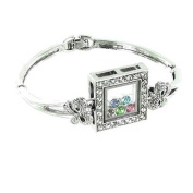 Clear Crystal and Multi-Coloured on Silver Plated Square Shaker Bracelet