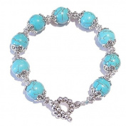 Turquoise & Tibetan Silver Bracelet 20.5cm