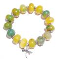 Green / Yellow Agate & Tibetan Silver Stretch Bracelet Approx. 20cm