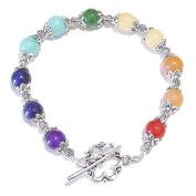Semi-precious Gemstone & Tibetan Silver Chakra / Meditation Bracelet 20.5cm