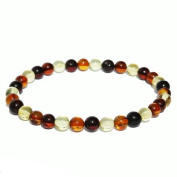Elegant Baltic Multicolour Amber Bracelet. One elastic strings expand to fit all wrists. Comes with lovely gift box.