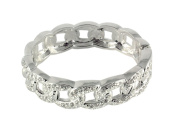 NYK silver link hinged bangle with glass crystals
