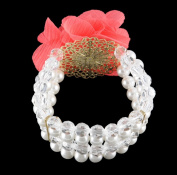 NYK Coral bloom in worn gold pearl and crystal beaded stretch bracelet
