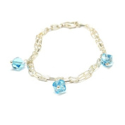 Toc Sterling Silver Charm Bracelet with Blue Crystal Charms