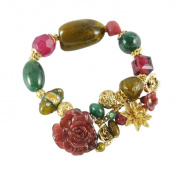 NYK Exotic multi stone and gold charm stretch bracelet
