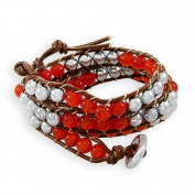 Long Semi Precious Stones Magnetie Hematite Red Agate Leather Cord Wrap Bracelet / Bangle with 3 Adjustable Toggle Clasp
