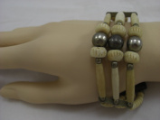 Goethnic Handmade Multi-Stranded Arm-Band With Exclusive Camel Bone Beads And Pieces White Metal And Brass Tribal Art Item