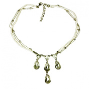 Dance Jewellery Cream Pearl Necklace with. Crystal Drops, Rhodium Plated Silver Finish and Nickel Free Metal by Dance Jewellery