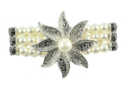 NYK Silver crystal flower and pearl stretch bracelet